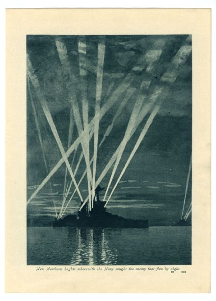 1916 WW1 Print NAVAL SEARCH LIGHTS Zeppelin Crash GREAT BURSTEAD Little Wigborough ESSEX